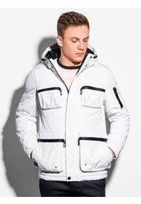 Ombre Clothing - Kurtka męska zimowa C450 - biała - XXL. Kolor: biały. Materiał: poliester. Wzór: aplikacja. Sezon: zima
