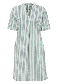 Sukienka bonprix niebieski mineralny - biel wełny w paski. Kolor: niebieski. Materiał: wełna. Wzór: paski