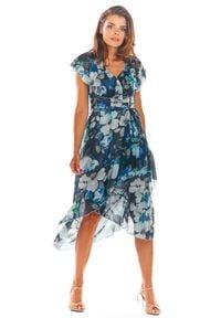 e-margeritka - Sukienka szyfonowa w kwiaty - 38. Okazja: do pracy. Materiał: szyfon. Wzór: kwiaty. Typ sukienki: asymetryczne. Styl: elegancki. Długość: midi