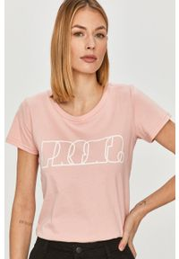 Różowa bluzka Prosto. na co dzień, casualowa, z nadrukiem