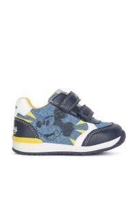 Niebieskie buty sportowe Geox z okrągłym noskiem, z cholewką, na rzepy