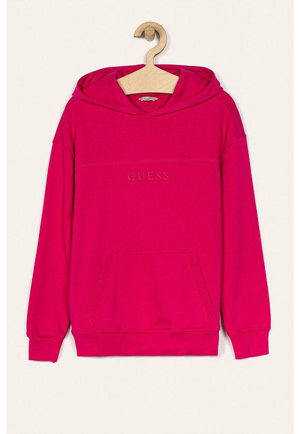Różowa bluza Guess Jeans na co dzień, casualowa, z kapturem