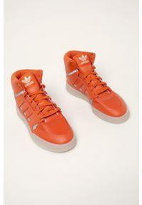 Pomarańczowe sneakersy adidas Originals z cholewką, z okrągłym noskiem