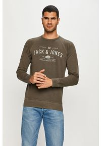 Zielona bluza nierozpinana Jack & Jones casualowa, bez kaptura