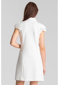 Kremowa sukienka Versace Collection mini, z aplikacjami