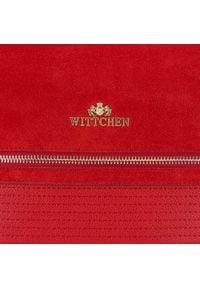 Wittchen - Torebka worek z zamszowym frontem. Kolor: czerwony. Wzór: haft, paski. Dodatki: z haftem. Materiał: skórzane. Styl: biznesowy, klasyczny, elegancki