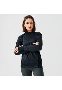 KALENJI - Bluza damska do biegania Kalenji Run Warm.. Typ kołnierza: golf. Kolor: czarny. Materiał: elastan, poliester, materiał. Sport: bieganie