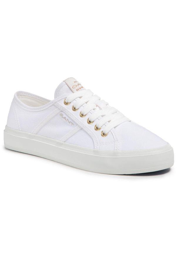 Tenisówki GANT - Pinestreet 22538609 White G29. Okazja: na co dzień. Kolor: biały. Materiał: materiał. Szerokość cholewki: normalna. Styl: casual
