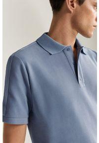 Niebieska koszulka polo Mango Man casualowa, krótka, polo, na co dzień