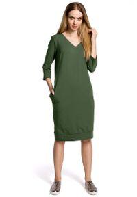 Zielona sukienka dzianinowa MOE casualowa, na co dzień, prosta
