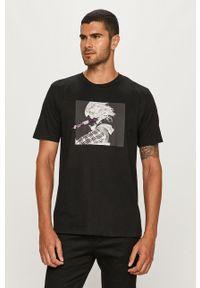 Czarny t-shirt Diesel casualowy, na co dzień, z okrągłym kołnierzem