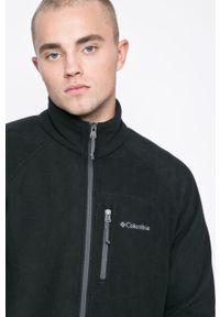 Czarna bluza rozpinana columbia bez kaptura, raglanowy rękaw, z nadrukiem