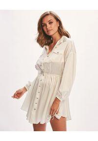 RETROFETE - Jedwabna sukienka Ivory. Kolor: beżowy. Materiał: jedwab. Typ sukienki: asymetryczne. Styl: klasyczny. Długość: mini