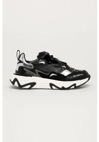 Czarne buty sportowe Karl Lagerfeld na średnim obcasie, z okrągłym noskiem, na sznurówki, na obcasie