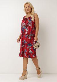 Born2be - Bordowa Sukienka Gyirre. Kolor: czerwony. Materiał: dzianina. Długość rękawa: bez rękawów. Wzór: gładki. Długość: midi