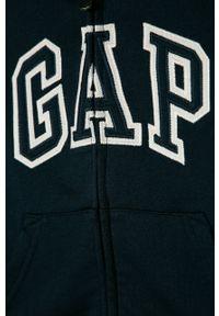 Niebieska bluza rozpinana GAP casualowa, z kapturem, z nadrukiem, na co dzień