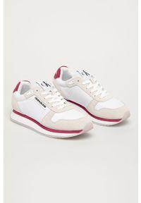 Białe buty sportowe Calvin Klein Jeans z cholewką, z okrągłym noskiem, na średnim obcasie