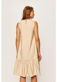 Beżowa sukienka ANSWEAR casualowa, na co dzień, midi, bez rękawów
