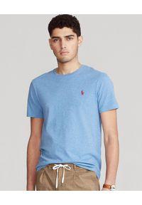 Ralph Lauren - RALPH LAUREN - Niebieska koszulka Custom Slim Fit. Okazja: na co dzień. Typ kołnierza: polo. Kolor: niebieski. Materiał: bawełna. Wzór: haft, melanż. Styl: casual