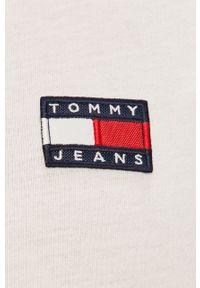 Biała bluzka Tommy Jeans z okrągłym kołnierzem, na co dzień