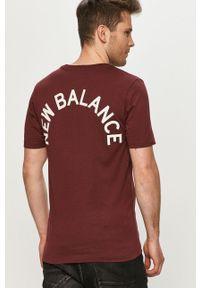 Brązowy t-shirt New Balance z nadrukiem, casualowy, na co dzień