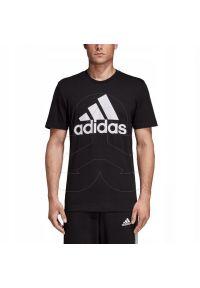 Czarna koszulka sportowa Adidas z krótkim rękawem, w kolorowe wzory, na fitness i siłownię, z kontrastowym kołnierzykiem