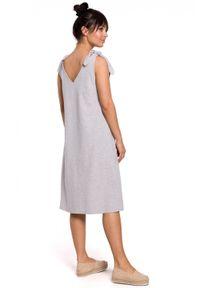 BE - Bawełniana trapezowa sukienka oversize na ramiączkach na lato. Materiał: bawełna. Długość rękawa: na ramiączkach. Sezon: lato. Typ sukienki: oversize, trapezowe