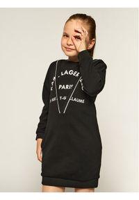 Czarna sukienka Karl Lagerfeld na co dzień, z dekoltem karo, casualowa