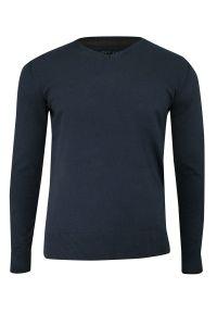 Niebieski sweter Just Yuppi klasyczny, z dekoltem w serek, na co dzień