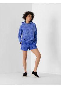 4f - Spodenki dresowe tie dye damskie. Okazja: na co dzień. Kolor: niebieski. Materiał: dresówka. Styl: casual