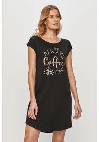 Czarna piżama Henderson Ladies z nadrukiem, krótka