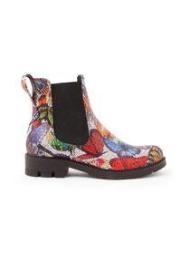 Botki Zapato klasyczne, wąskie, w kolorowe wzory, na lato