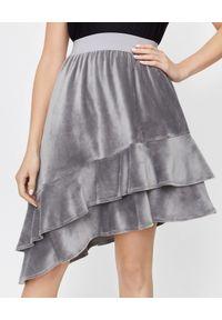 THECADESS - Welurowa spódnica z falbaną. Okazja: na co dzień. Kolor: szary. Materiał: welur. Styl: casual