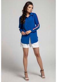 Nommo - Granatowa Długa Koszula z Lampasem na Rękawie. Kolor: niebieski. Materiał: wiskoza, poliester. Długość: długie