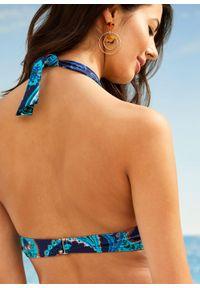 Bikini z ramiączkami wiązanymi na szyi, przyjazne dla środowiska (2 części) bonprix ciemnoniebiesko-turkusowy paisley. Kolor: niebieski. Materiał: materiał. Wzór: paisley