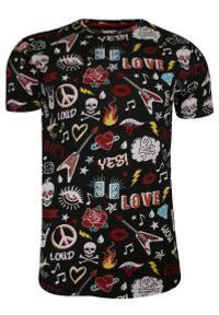 Wielokolorowy t-shirt Brave Soul z nadrukiem, casualowy, z krótkim rękawem, na co dzień