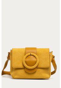 Żółta listonoszka ANSWEAR wakacyjna, zamszowa, na ramię