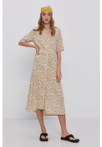 Vila - Sukienka. Kolor: beżowy. Materiał: tkanina. Typ sukienki: rozkloszowane