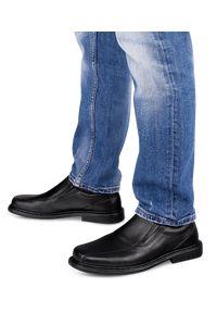 ESCOTT - Mokasyny męskie Escott 875 Czarne. Zapięcie: bez zapięcia. Kolor: czarny. Materiał: tworzywo sztuczne, skóra. Obcas: na obcasie. Styl: elegancki. Wysokość obcasa: średni #1