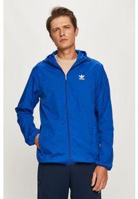 Niebieska kurtka adidas Originals z kapturem, casualowa, na co dzień