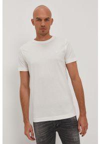 Kremowy t-shirt Jack & Jones na co dzień, gładki