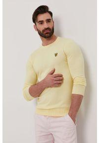 Żółty sweter Lyle & Scott długi, z długim rękawem, na co dzień