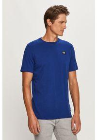 Niebieski t-shirt Scotch & Soda z okrągłym kołnierzem, z nadrukiem, casualowy