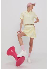 adidas Originals - Spódnica. Kolor: żółty. Materiał: dzianina, poliester. Wzór: gładki