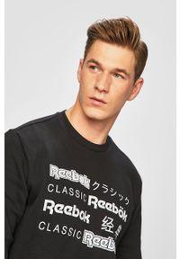 Czarna bluza nierozpinana Reebok Classic bez kaptura, z nadrukiem, na co dzień, casualowa