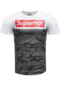 Biały t-shirt z nadrukiem Recea na co dzień, z krótkim rękawem, casualowy
