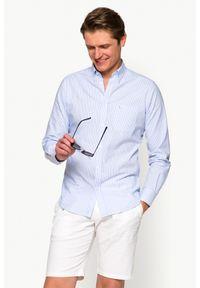 Niebieska koszula casual Lancerto w prążki, button down