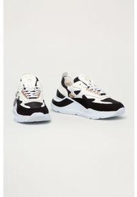 Czarne buty sportowe D.A.T.E. na sznurówki, na średnim obcasie, na obcasie, z cholewką