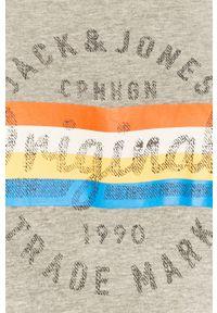 Szara bluza nierozpinana Jack & Jones casualowa, z kapturem, na co dzień, z nadrukiem