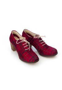 Zapato - sznurowane półbuty na 6 cm słupku - skóra naturalna - model 251 - kolor czarno-czerwoma kratka. Kolor: czarny. Materiał: skóra. Wzór: kratka. Obcas: na słupku